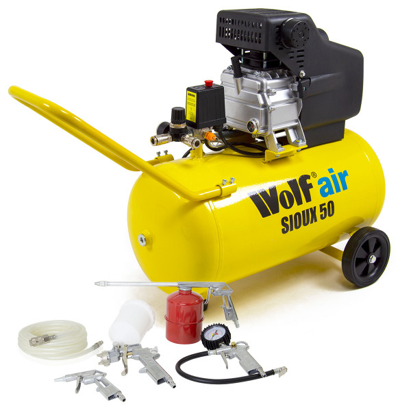 Wolf Sioux 50 Litre Air Compressor and 5pc Air Tool Kit