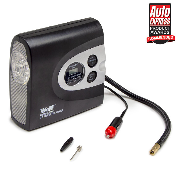 Wolf 3 in 1 Digital Tyre Inflator, SOS Light & Torch