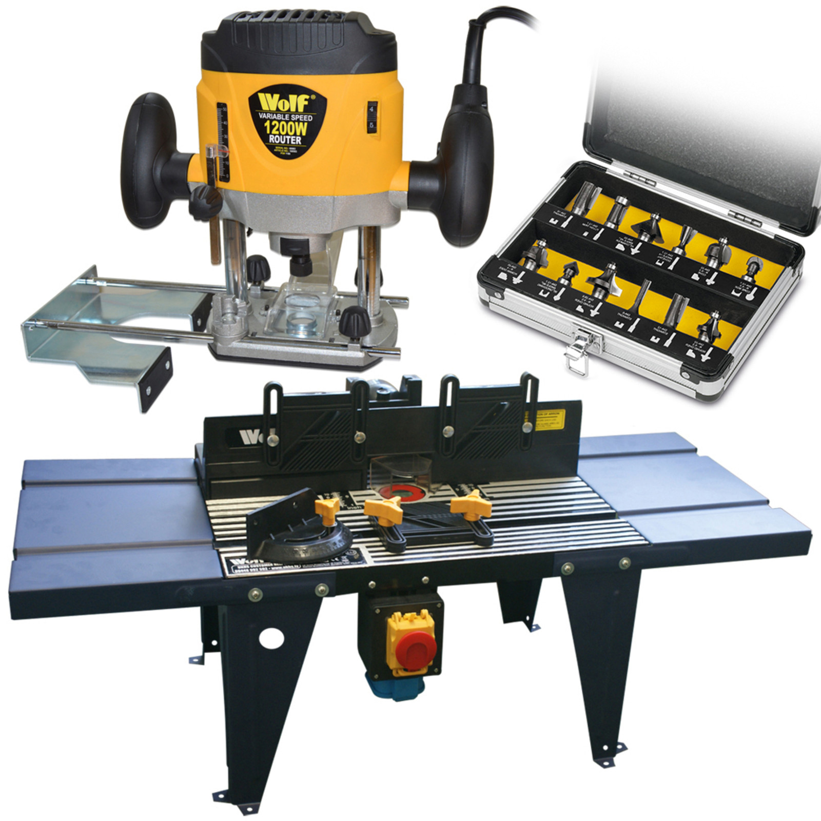Wolf 1200w plunge router router table 12pc bit kit ukhs click on the image to enlarge greentooth Images