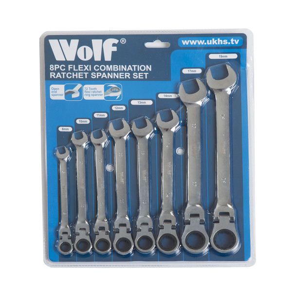 Wolf 8pc Flexi Head Combination Ratchet Spanner Set