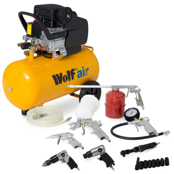 Wolf Sioux 50 Litre Air Compressor with Autoshop 2 Deal