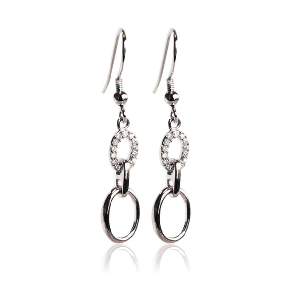 Persona Silver and CZ Crystal Ovals Earrings