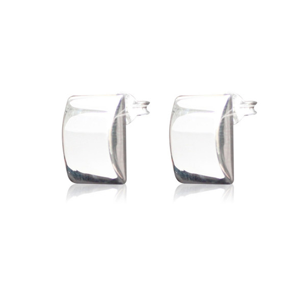 Persona Polished Silver Domed Oblong Earrings