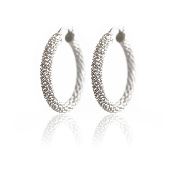 Persona Silver Sparkle Mesh Hoop Earrings