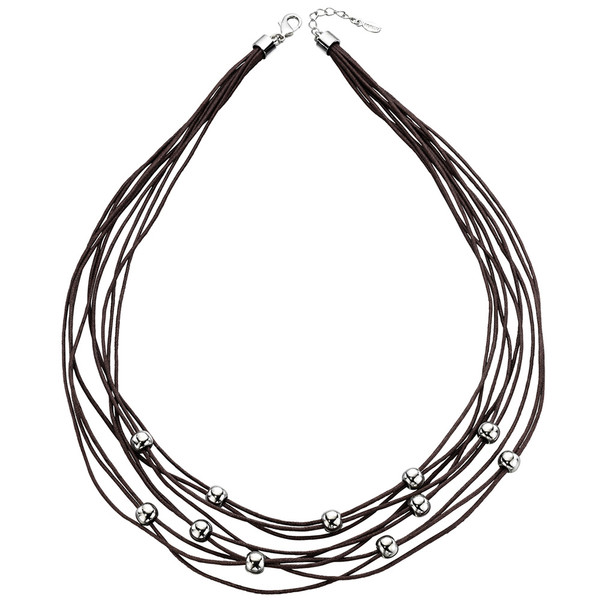 Fiorelli Silver Tone Beaded Multi Cord Necklace