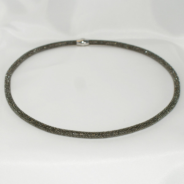 Persona Silver/Black Sparkle Mesh Necklace