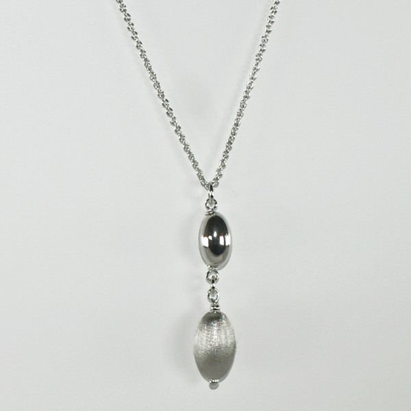 Persona Satin & Polished Silver Bead Necklace