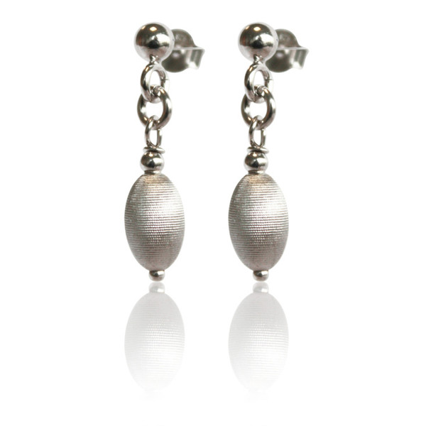 Persona Satin Silver Oval Bead Earrings