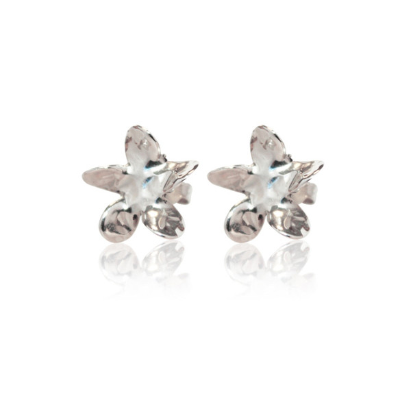 Persona Hammered Silver Flower Stud Earrings