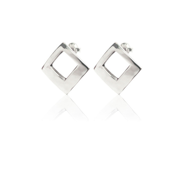 Persona Hammered Silver Sqaure Stud Earrings