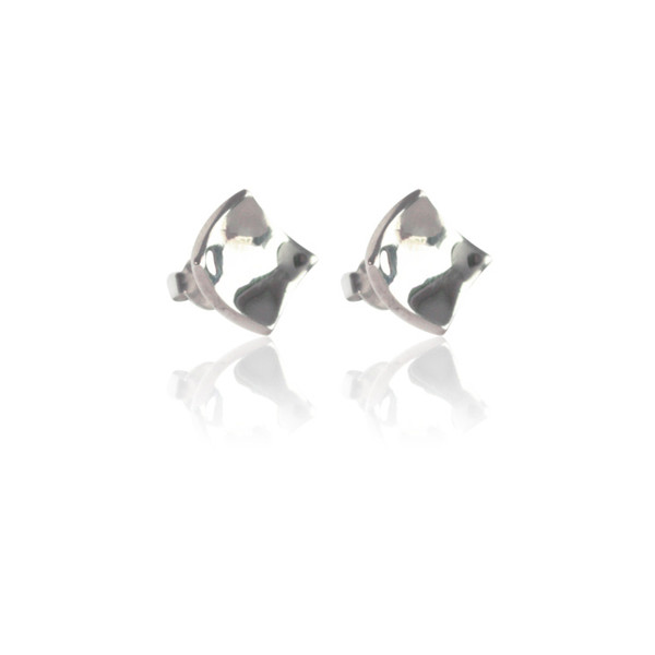 Persona Silver Concave Square Stud Earrings
