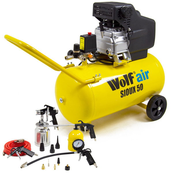 Wolf Sioux 50 Air Compressor & 13pc Spray Kit