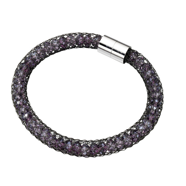 Fiorelli Purple Crystals Black Mesh Bracelet