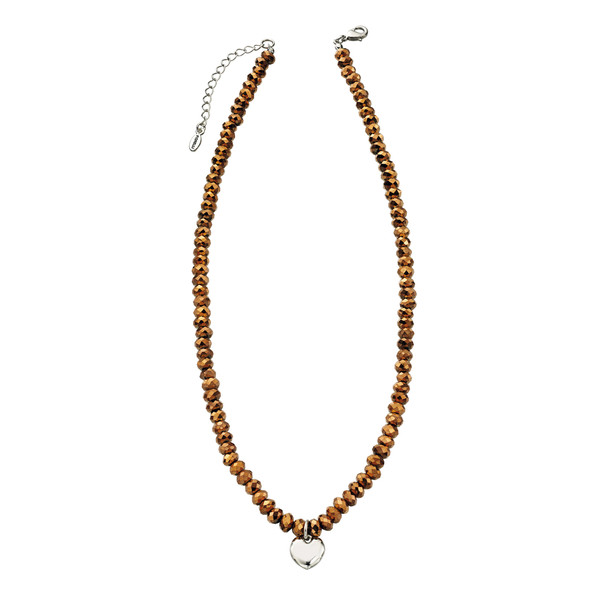 Fiorelli Bronze Glass Bead Necklace with Heart Charm