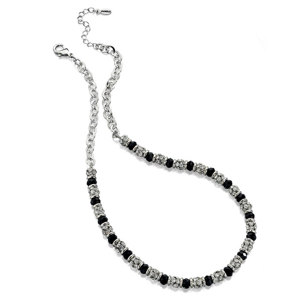 Fiorelli Clear Crystal & Jet Glass Bead Necklace