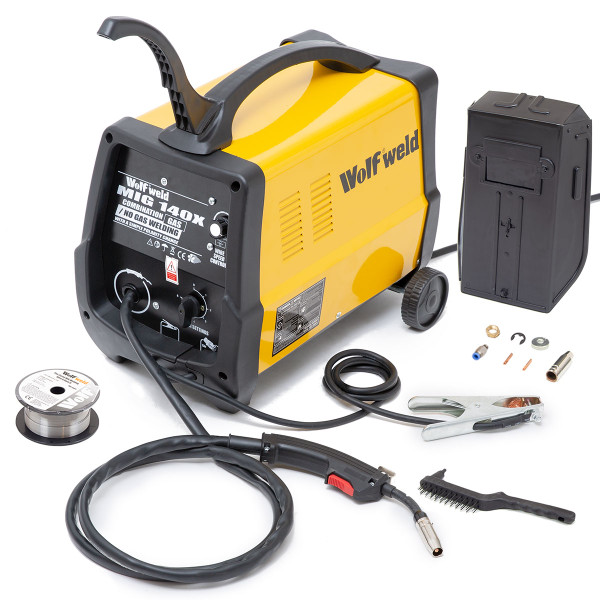 Wolf Combination Gas / No Gas MIG 140 Welder with No Gas Kit