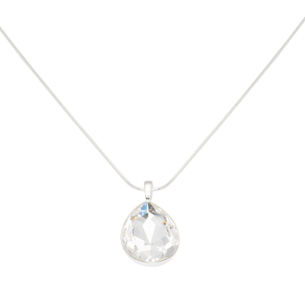 Persona Clear Swarovski Crystal Teardrop Necklace