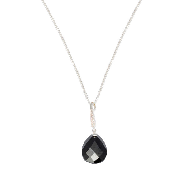 Persona Black Cuboc Zirconia Teardrop Necklace