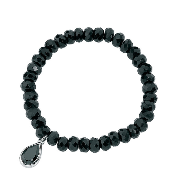 Persona Onyx and Black Cubic Zirconia Bead Stretch Bracelet