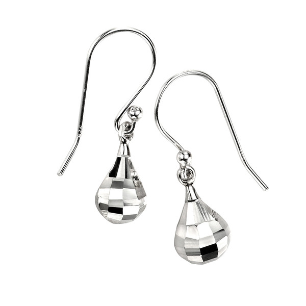 Persona Diamond Cut Silver Teardrop Earrings