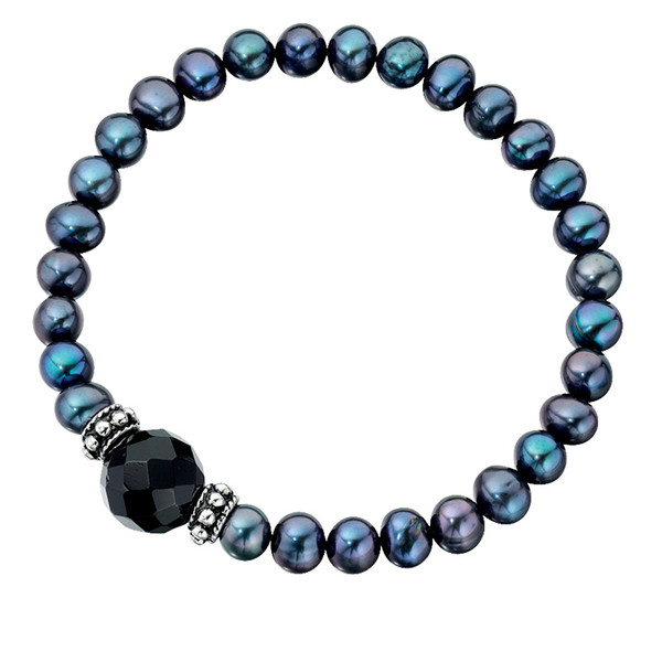 Persona Freshwater Pearl & Black Agate Stretch Bracelet