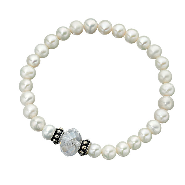 Persona Freshwater Pearl & Clear Glass Bead Stretch Bracelet