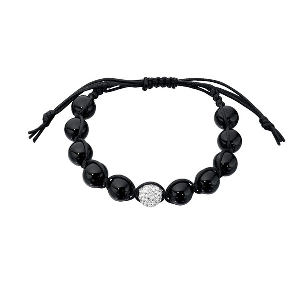 Persona Onyx and Clear Crystal Bead Shamballa Style Bracelet