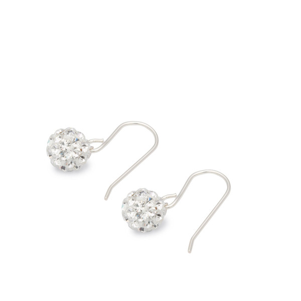 Persona Silver Clear Crystal Set Ball Drop Earrings