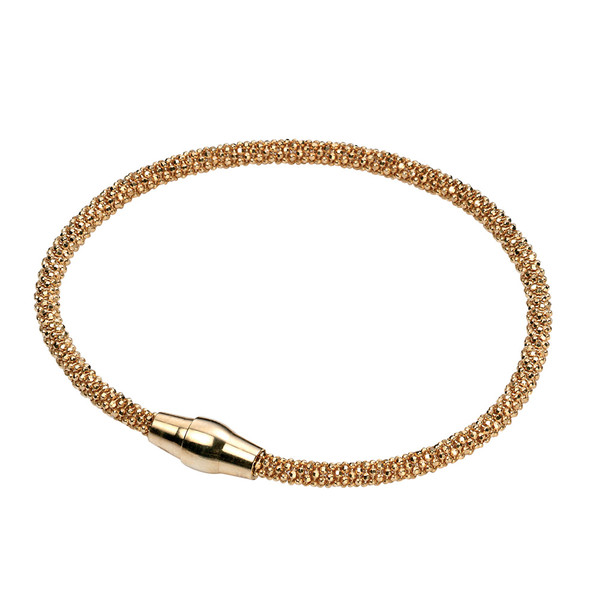 Persona Silver Diamond Cut Sparkle Bead Bracelet - Gold Plated