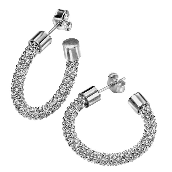 Persona Silver Diamond Cut Sparkle Bead Earrings - Rhodium Plated