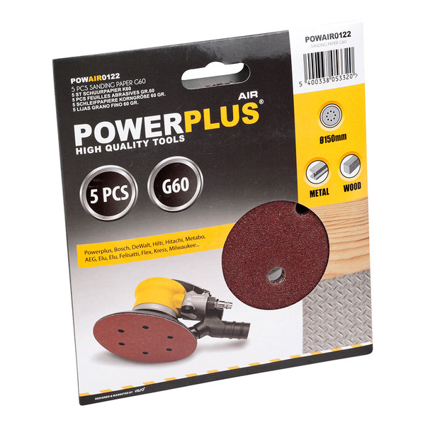 Powerplus 5PK Replacement Sanding Sheet 60Grit