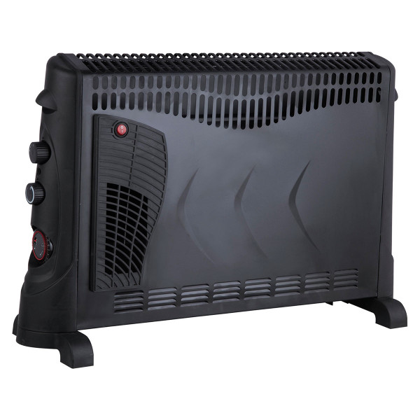 2kW Convector Heater with Thermostat Turbo & Timer - Black