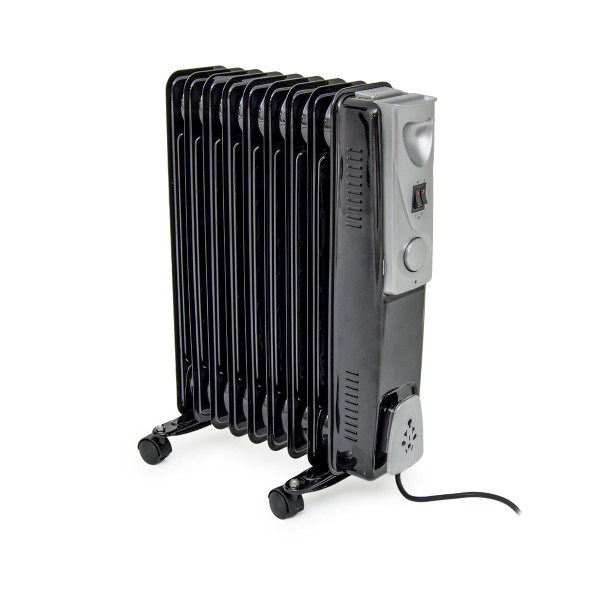 9 Fin 2kW Black Oil Filled Radiator with Thermostat
