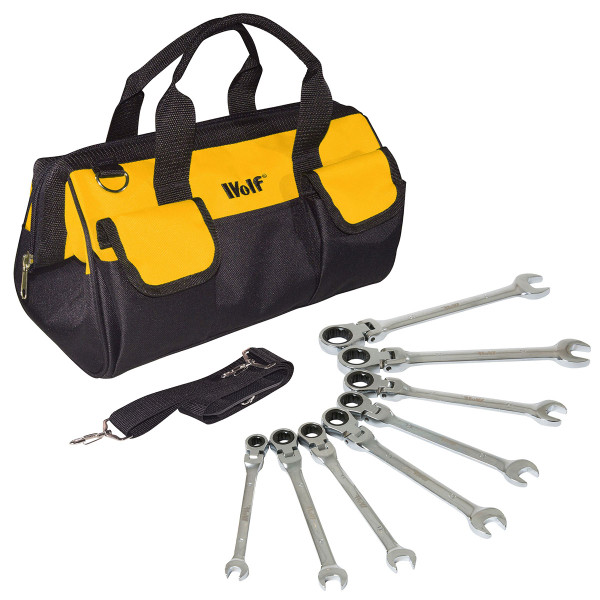 Wolf Flexi Ratchet Ring Spanner Set & Wolf Tool Bag