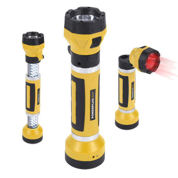 Powerplus LED Torch rechargable swivels extends
