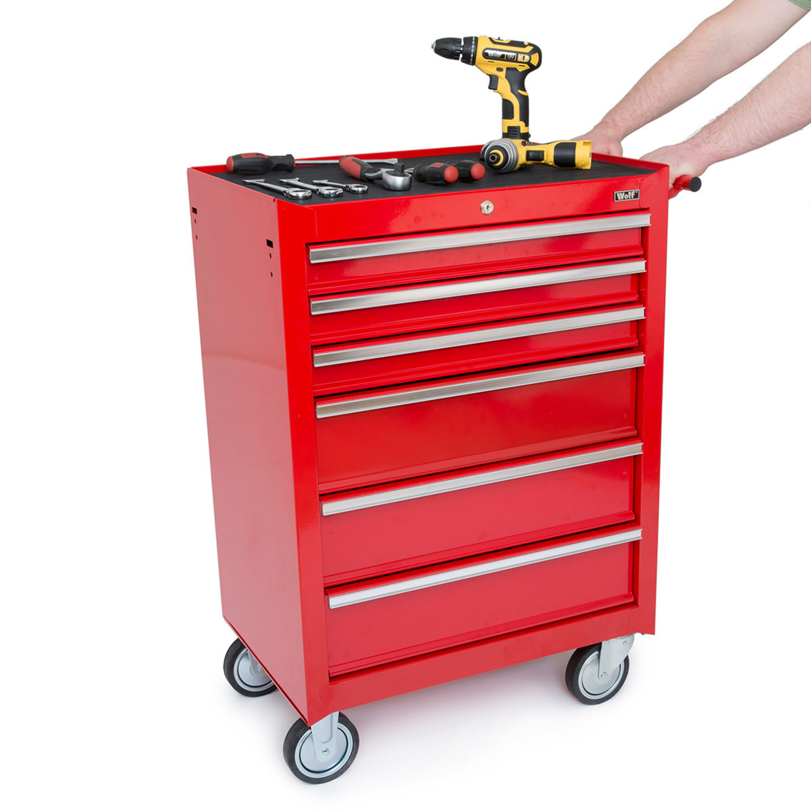 Wolf 6 drawer tool roller cabinet tools to go for Roller sideboard