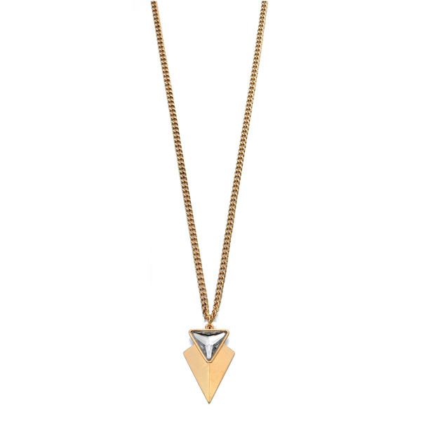Fiorelli Long Gold Tone Triangular Pendant Necklace 80-85cm