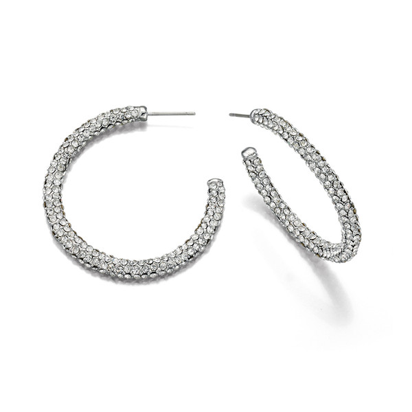 Fiorelli Clear Preciosa Pave Hoop Earrings
