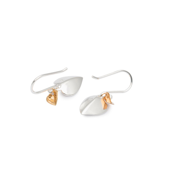 Persona Gold Plated & Scratch Finish Heart Earrings
