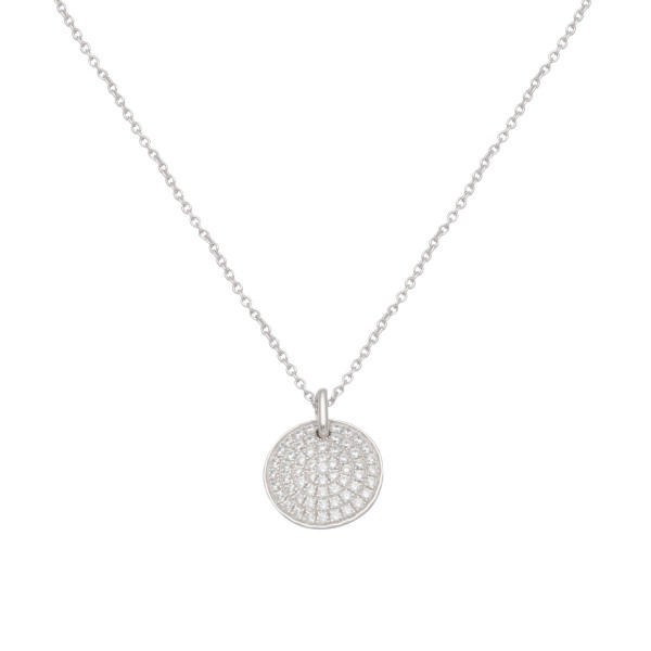Persona Cubic Zirconia Pave Round Disc Necklace