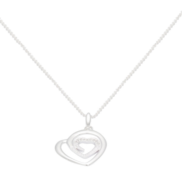 Persona Cubic Zirconia Heart within Heart Necklace