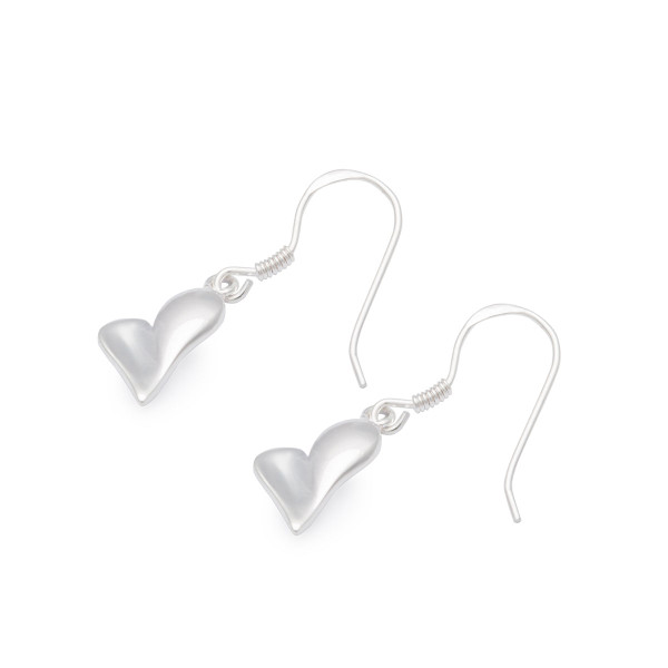Persona Silver Polished Heart Earrings