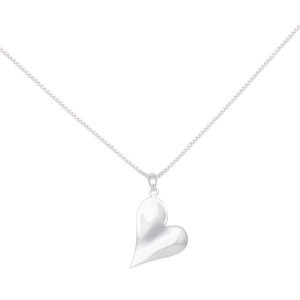 Persona Silver Polished Heart Necklace