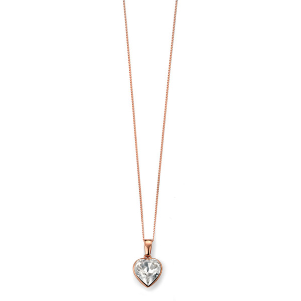 Persona Rose Gold Clear Swarovski Crystal Heart Necklace