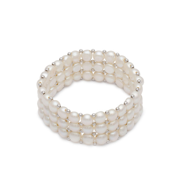 Persona White Freshwater Pearl Triple Row Stretch Bracelet