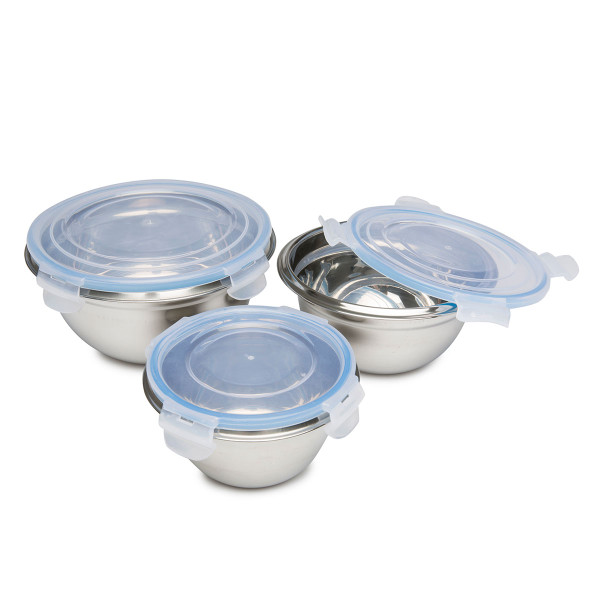 Stainless Steel Food Storage Bowls Click Locks, 6 pc