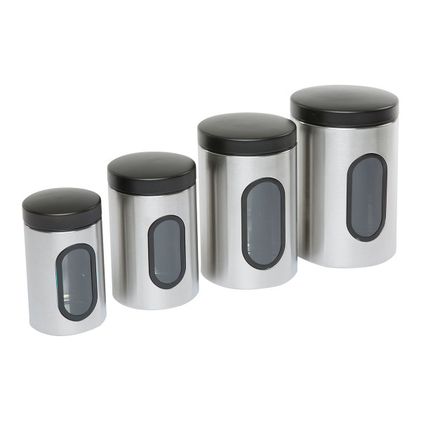Set of 4 Stainless Steel Storage Canisters
