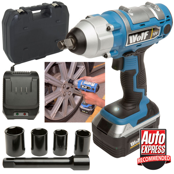 "Wolf 380NM Torque 18v Cordless 1/2"" Impact Wrench Kit"