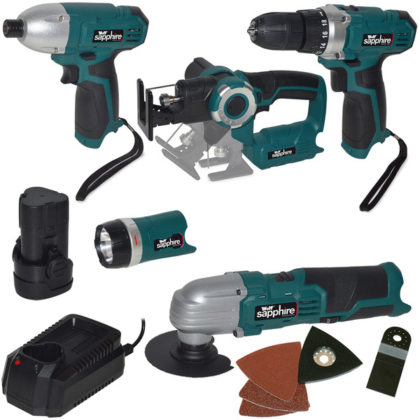 Wolf Sapphire 7pc 12v Lithium Ion Cordless Tool Set