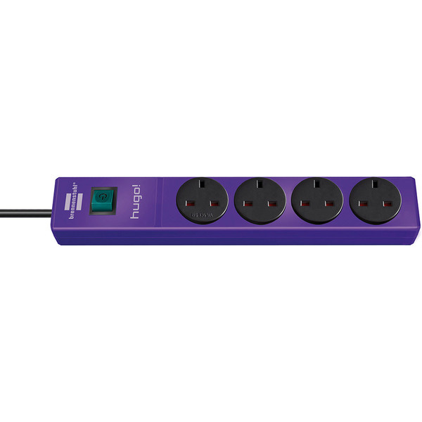 Brennenstuhl 2 Metre 4 Socket Extension Cable - Violet